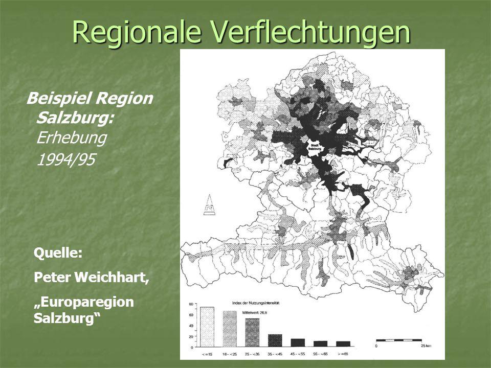 Regionale Verflechtungen Beispiel Region Salzburg: Erhebung 1994/95 Quelle: Peter Weichhart, Europaregion Salzburg