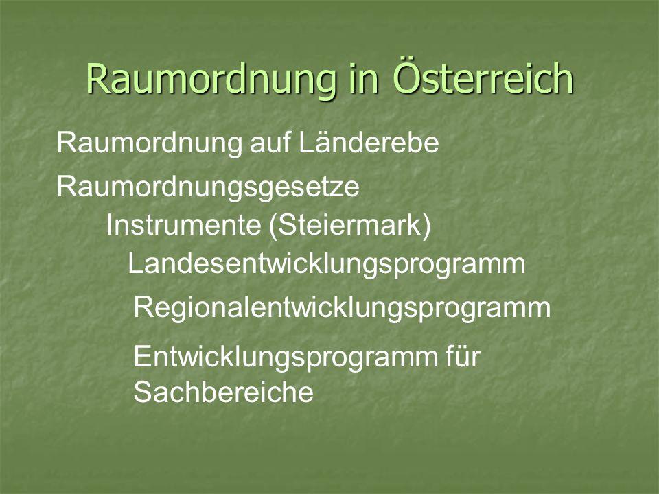Raumordnung in Österreich Raumordnung auf Länderebe Raumordnungsgesetze Entwicklungsprogramm für Sachbereiche Instrumente (Steiermark) Landesentwicklu
