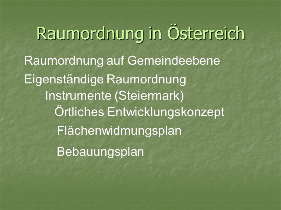 Raumordnung in Österreich Raumordnung auf Gemeindeebene Eigenständige Raumordnung Bebauungsplan Instrumente (Steiermark) Örtliches Entwicklungskonzept