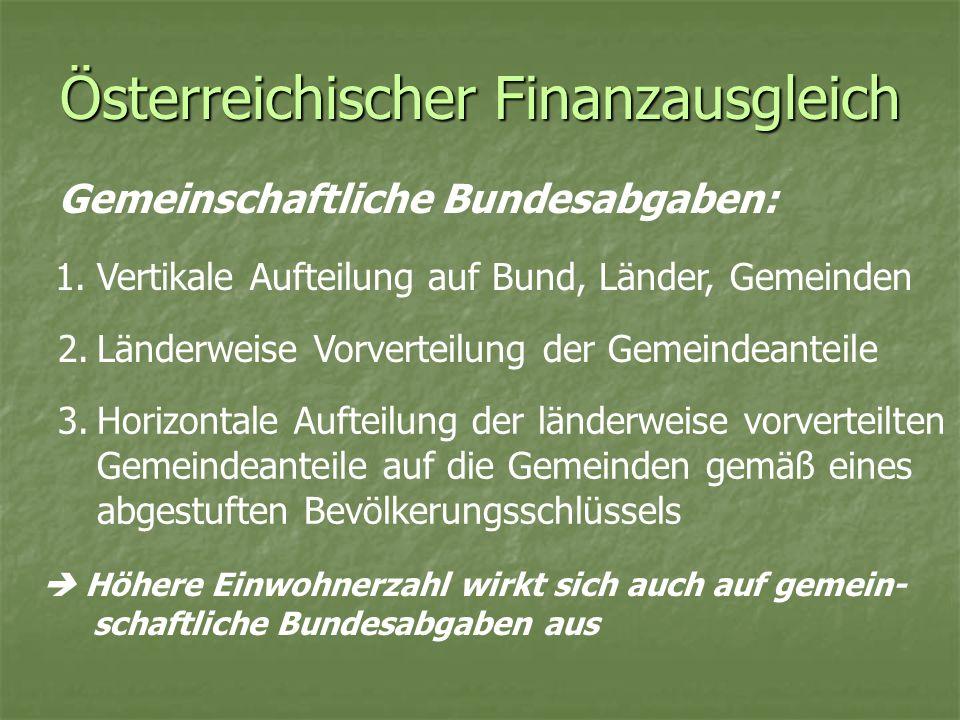 Österreichischer Finanzausgleich Gemeinschaftliche Bundesabgaben: 1.Vertikale Aufteilung auf Bund, Länder, Gemeinden 2.Länderweise Vorverteilung der G