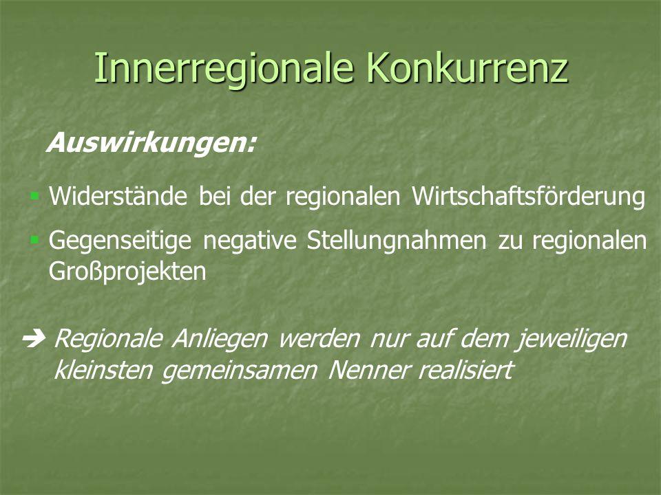 Innerregionale Konkurrenz Auswirkungen: Regionale Anliegen werden nur auf dem jeweiligen kleinsten gemeinsamen Nenner realisiert Widerstände bei der r