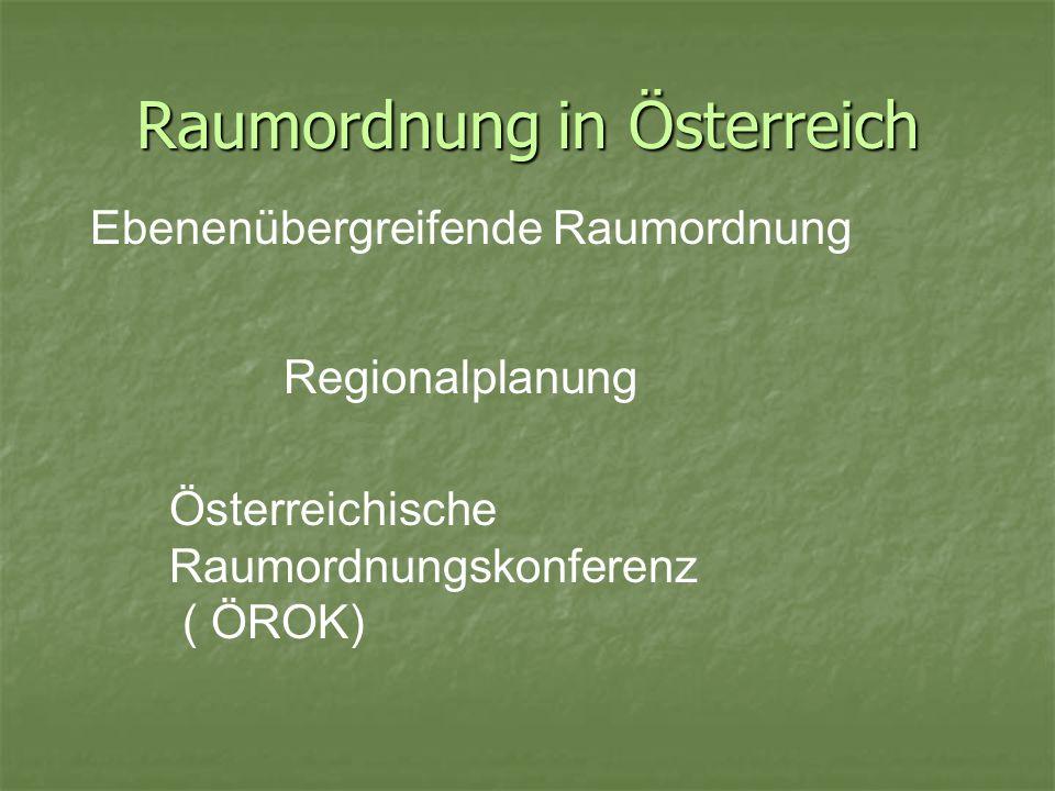Raumordnung in Österreich Ebenenübergreifende Raumordnung Regionalplanung Österreichische Raumordnungskonferenz ( ÖROK)