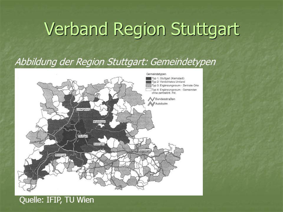Verband Region Stuttgart Davor waren verschiedene Zweckverbände für den planerischen, baulichen und technischen Bereich zuständig Die wichtigsten unter diesen waren: Regionalverband Stuttgart (RVS): war für die Regional- und Landschaftsrahmenplanung verantwortlich Nachbarschaftsverband Stuttgart (NVS): für die Flächennutzungsplanung und Landschaftsplanung zuständig