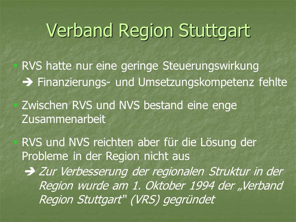 Verband Region Stuttgart RVS hatte nur eine geringe Steuerungswirkung Finanzierungs- und Umsetzungskompetenz fehlte Zwischen RVS und NVS bestand eine