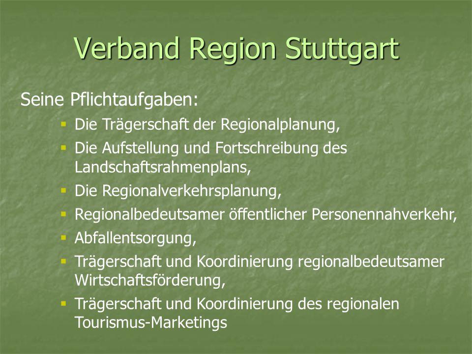 Verband Region Stuttgart Vorteile des VRS: Höheres Gewicht des Verbandes durch Bündelung von Zuständigkeiten Erleichterung der Koordination von inhaltlich zusammengehörigen Arbeitsfeldern Ausweitung der Kompetenzen des VRS im Bereich der Regionalplanung (kann Planungsgebot aussprechen) Stärkere demokratische Legitimation durch eine direkt vom Volk gewählte Regionalversammlung