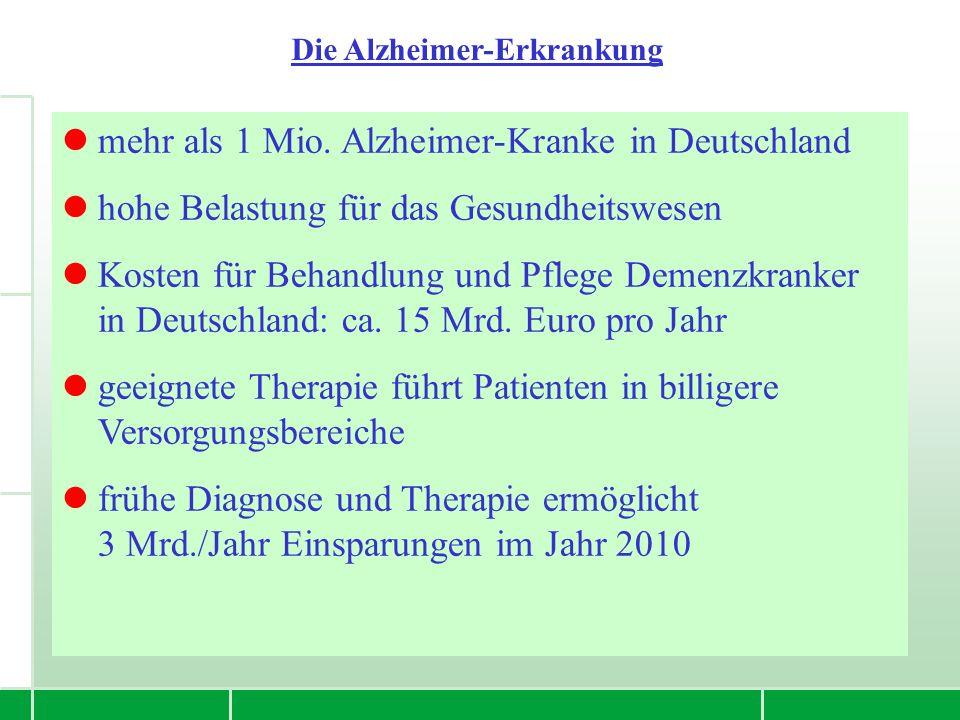 mehr als 1 Mio. Alzheimer-Kranke in Deutschland hohe Belastung für das Gesundheitswesen Kosten für Behandlung und Pflege Demenzkranker in Deutschland: