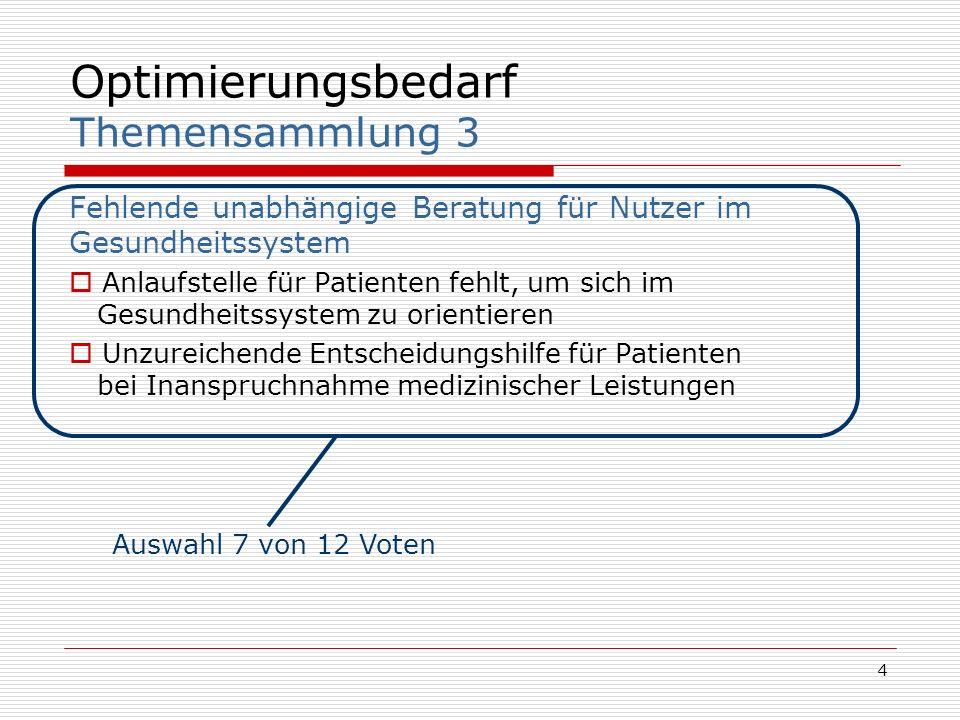5 Optimierungsbedarf Beschreibung Es fehlt im deutschen Gesundheitswesen eine unabhängige Beratung für Nutzer, Erkrankte, Versicherte Angehörige Der Zugang zu dieser Beratung sollte niederschwellig sein, d.h.