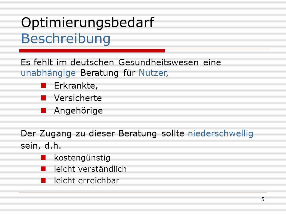 5 Optimierungsbedarf Beschreibung Es fehlt im deutschen Gesundheitswesen eine unabhängige Beratung für Nutzer, Erkrankte, Versicherte Angehörige Der Z
