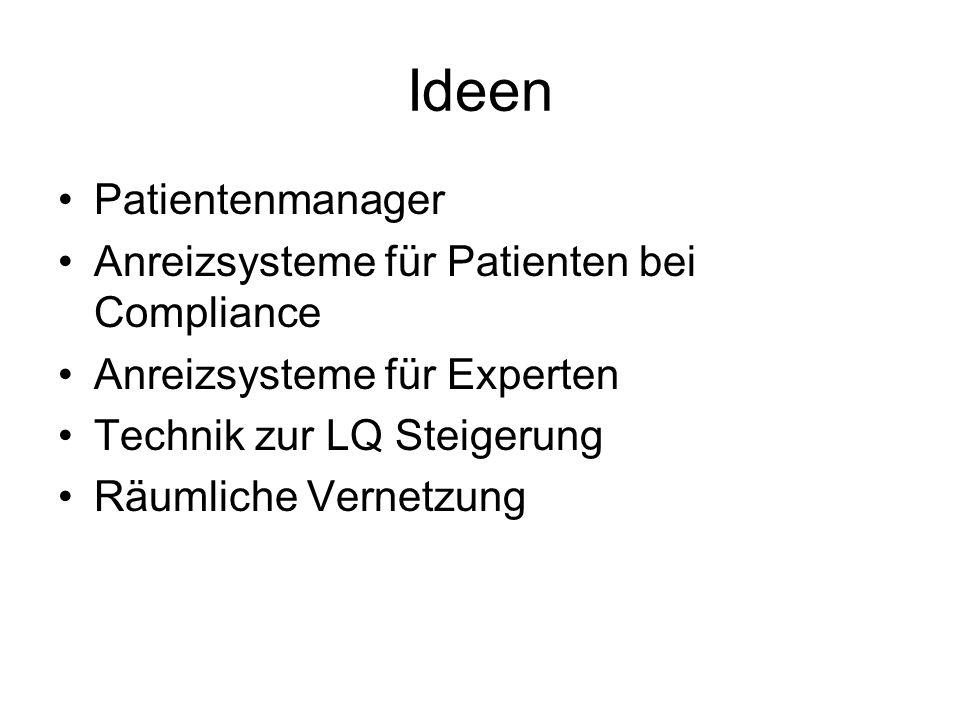Ideen Patientenmanager Anreizsysteme für Patienten bei Compliance Anreizsysteme für Experten Technik zur LQ Steigerung Räumliche Vernetzung