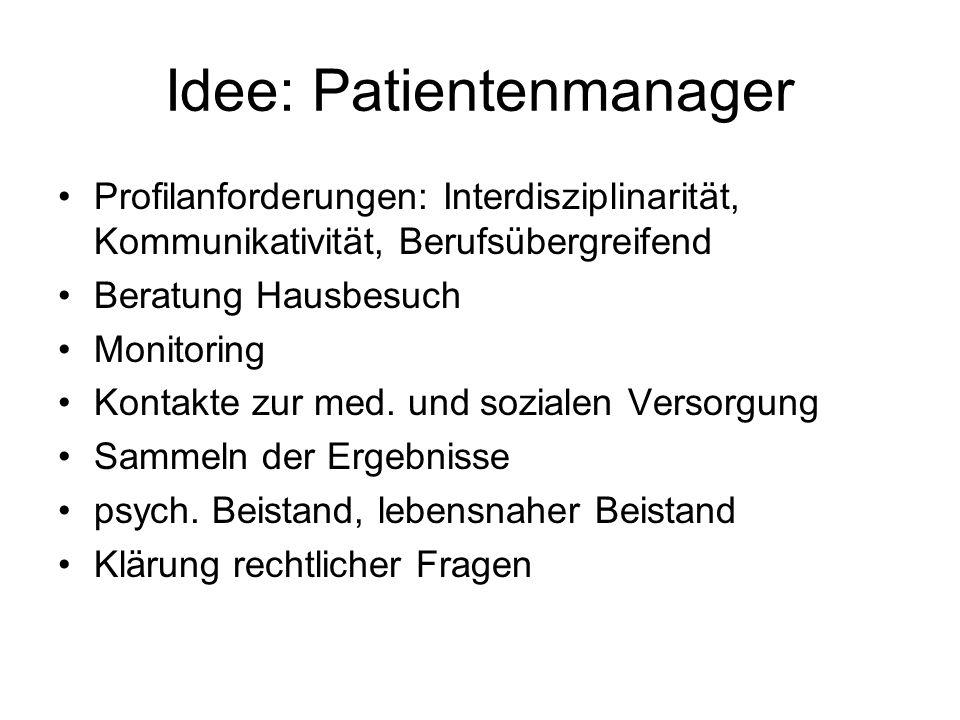 Idee: Patientenmanager Profilanforderungen: Interdisziplinarität, Kommunikativität, Berufsübergreifend Beratung Hausbesuch Monitoring Kontakte zur med