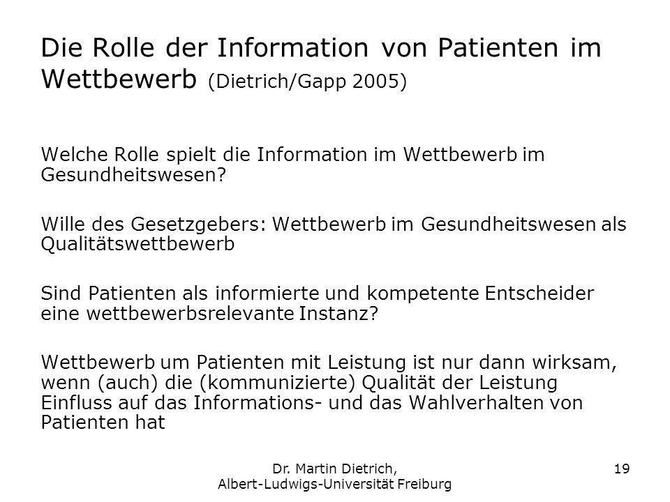 Dr. Martin Dietrich, Albert-Ludwigs-Universität Freiburg 19 Die Rolle der Information von Patienten im Wettbewerb (Dietrich/Gapp 2005) Welche Rolle sp