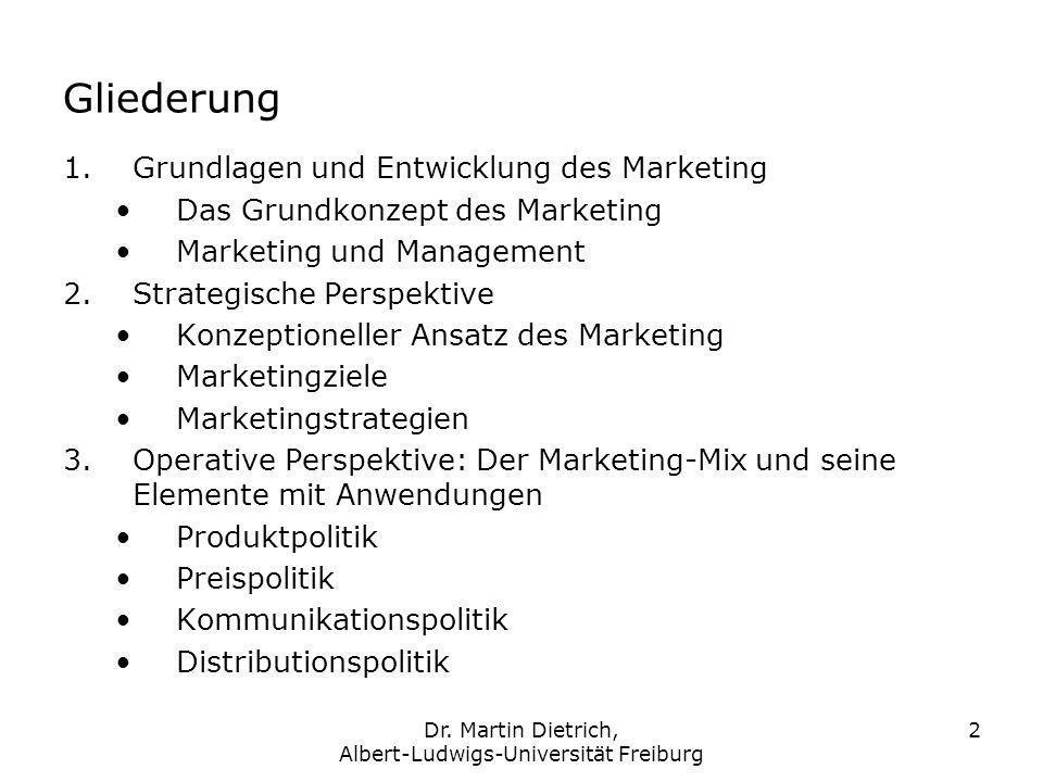 Dr. Martin Dietrich, Albert-Ludwigs-Universität Freiburg 2 Gliederung 1.Grundlagen und Entwicklung des Marketing Das Grundkonzept des Marketing Market