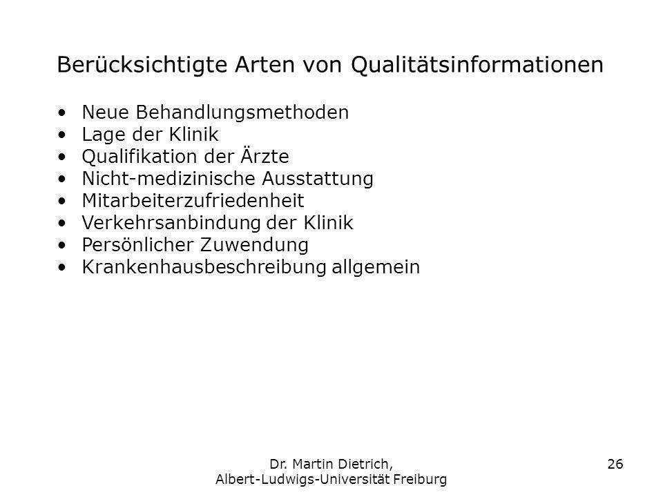 Dr. Martin Dietrich, Albert-Ludwigs-Universität Freiburg 26 Berücksichtigte Arten von Qualitätsinformationen Neue Behandlungsmethoden Lage der Klinik