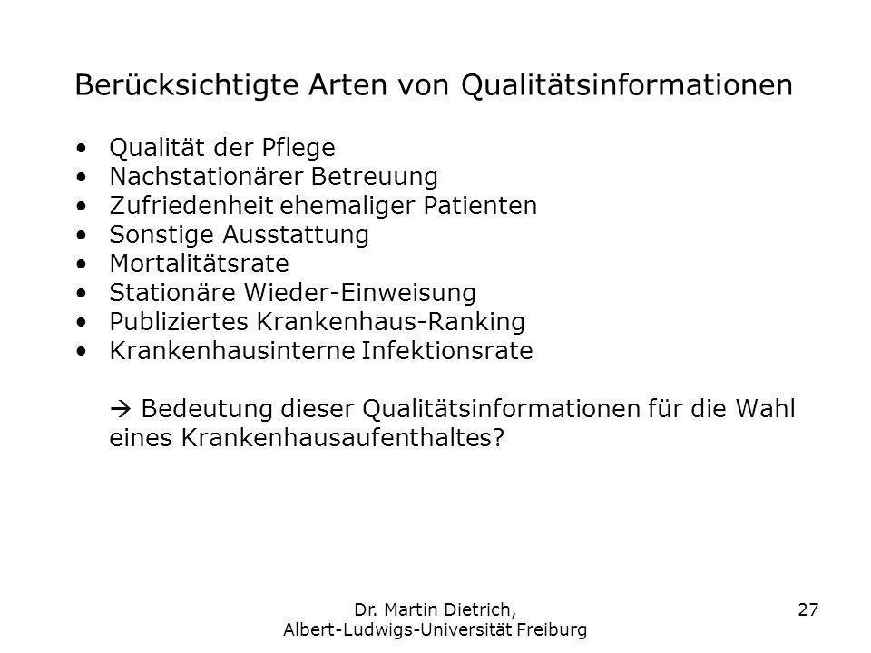 Dr. Martin Dietrich, Albert-Ludwigs-Universität Freiburg 27 Qualität der Pflege Nachstationärer Betreuung Zufriedenheit ehemaliger Patienten Sonstige