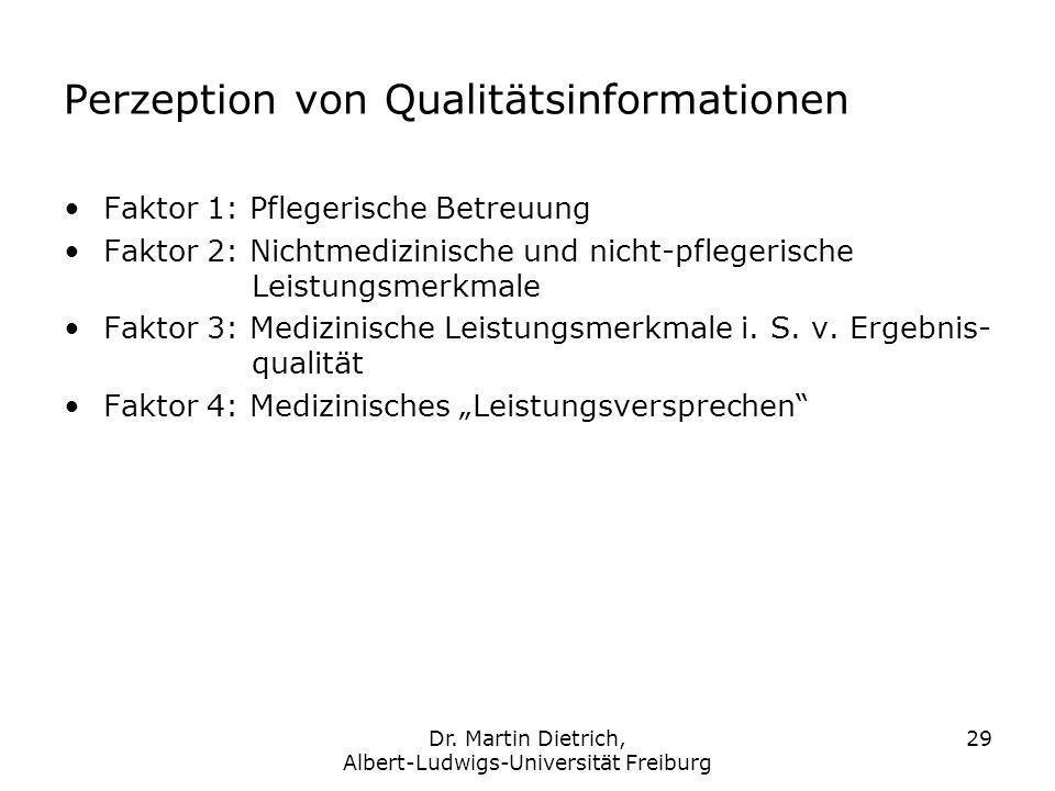 Dr. Martin Dietrich, Albert-Ludwigs-Universität Freiburg 29 Perzeption von Qualitätsinformationen Faktor 1: Pflegerische Betreuung Faktor 2: Nichtmedi