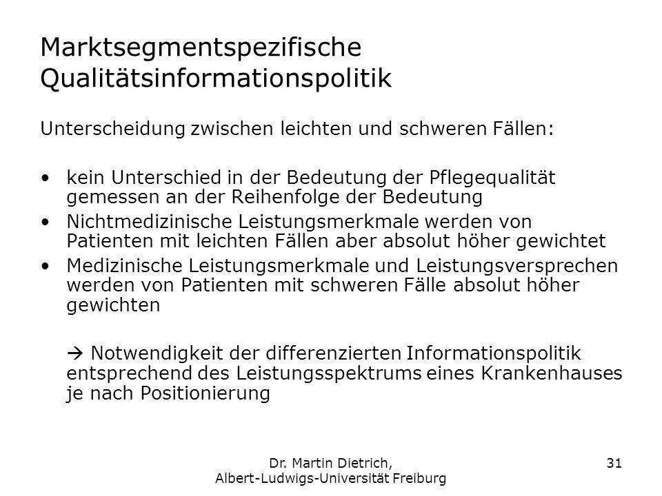 Dr. Martin Dietrich, Albert-Ludwigs-Universität Freiburg 31 Marktsegmentspezifische Qualitätsinformationspolitik Unterscheidung zwischen leichten und