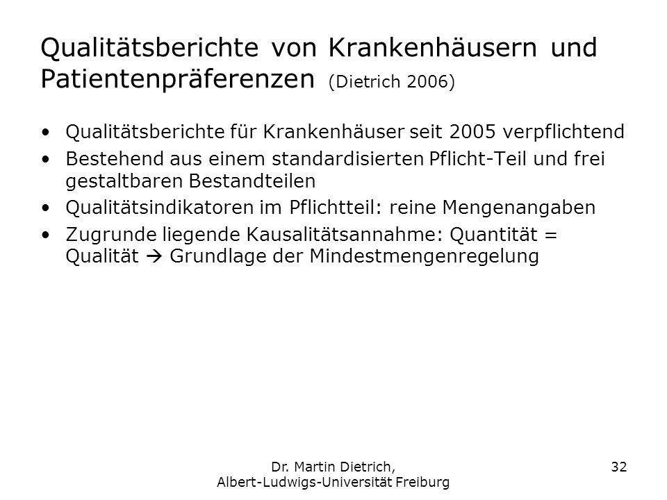 Dr. Martin Dietrich, Albert-Ludwigs-Universität Freiburg 32 Qualitätsberichte von Krankenhäusern und Patientenpräferenzen (Dietrich 2006) Qualitätsber