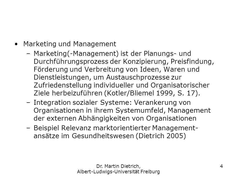 Dr. Martin Dietrich, Albert-Ludwigs-Universität Freiburg 4 Marketing und Management –Marketing(-Management) ist der Planungs- und Durchführungsprozess