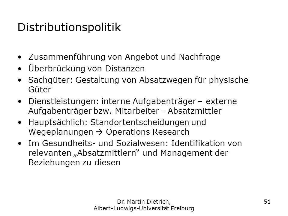 Dr. Martin Dietrich, Albert-Ludwigs-Universität Freiburg 51 Distributionspolitik Zusammenführung von Angebot und Nachfrage Überbrückung von Distanzen