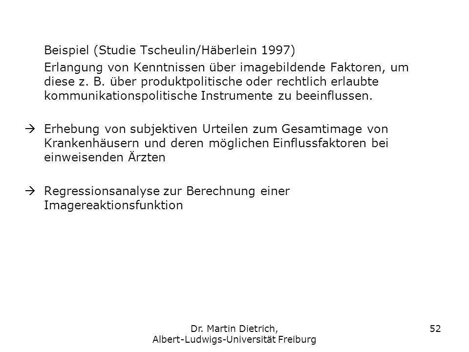 Dr. Martin Dietrich, Albert-Ludwigs-Universität Freiburg 52 Beispiel (Studie Tscheulin/Häberlein 1997) Erlangung von Kenntnissen über imagebildende Fa