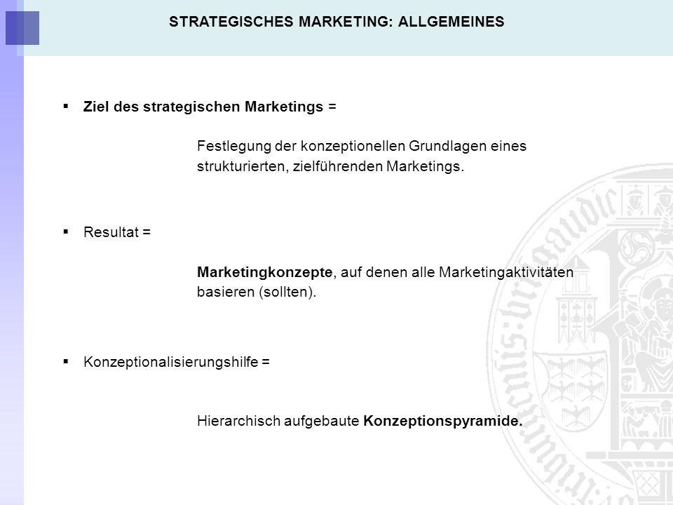 Ziel des strategischen Marketings = Festlegung der konzeptionellen Grundlagen eines strukturierten, zielführenden Marketings.