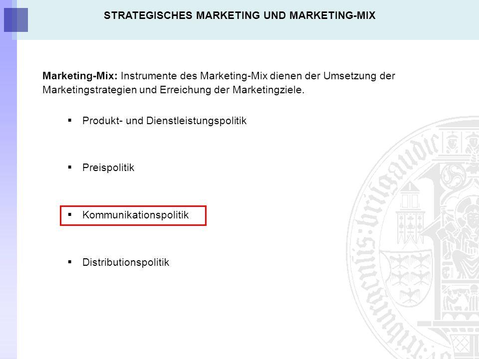 Marketing-Mix: Instrumente des Marketing-Mix dienen der Umsetzung der Marketingstrategien und Erreichung der Marketingziele.