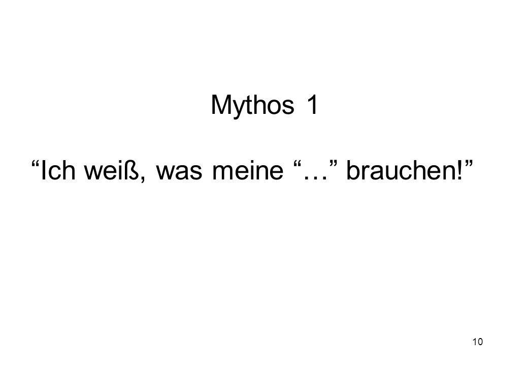10 Mythos 1 Ich weiß, was meine … brauchen!