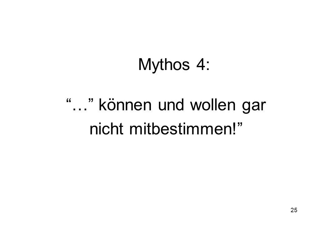 25 Mythos 4: … können und wollen gar nicht mitbestimmen!