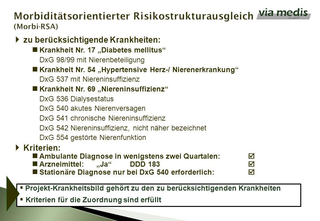 zu berücksichtigende Krankheiten: Krankheit Nr. 17 Diabetes mellitus DxG 98/99 mit Nierenbeteiligung Krankheit Nr. 54 Hypertensive Herz-/ Nierenerkran