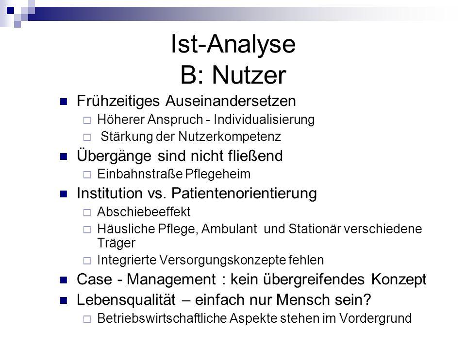 Ist-Analyse B: Nutzer Frühzeitiges Auseinandersetzen Höherer Anspruch - Individualisierung Stärkung der Nutzerkompetenz Übergänge sind nicht fließend
