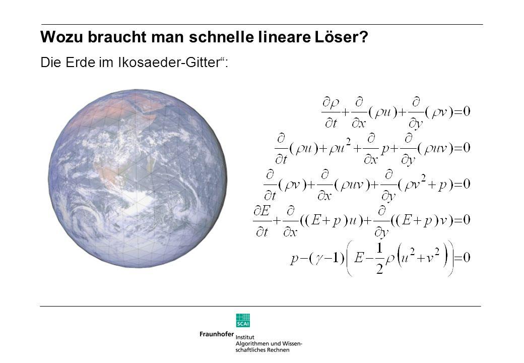 Wozu braucht man schnelle lineare Löser? Die Erde im Ikosaeder-Gitter: