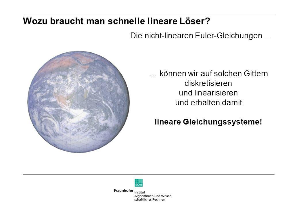 Wozu braucht man schnelle lineare Löser? Die nicht-linearen Euler-Gleichungen … … können wir auf solchen Gittern diskretisieren und linearisieren und
