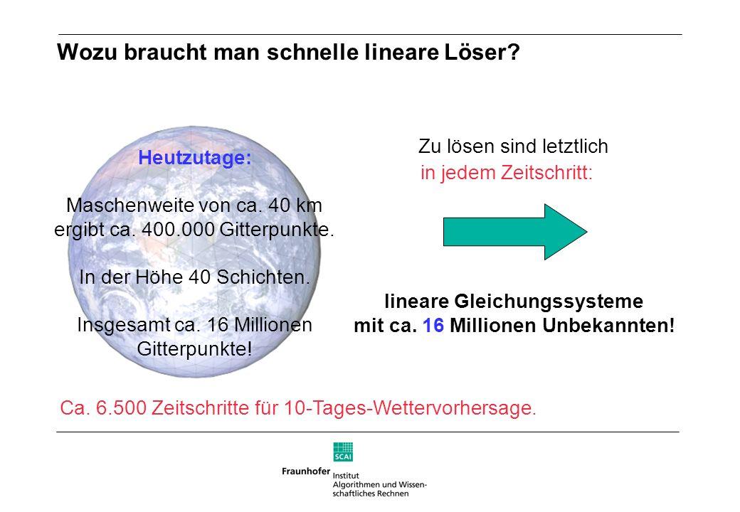 Wozu braucht man schnelle lineare Löser? lineare Gleichungssysteme mit ca. 16 Millionen Unbekannten! Heutzutage: Maschenweite von ca. 40 km ergibt ca.