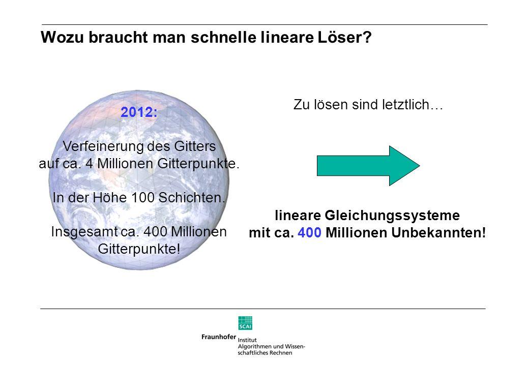 Wozu braucht man schnelle lineare Löser? lineare Gleichungssysteme mit ca. 400 Millionen Unbekannten! 2012: Verfeinerung des Gitters auf ca. 4 Million