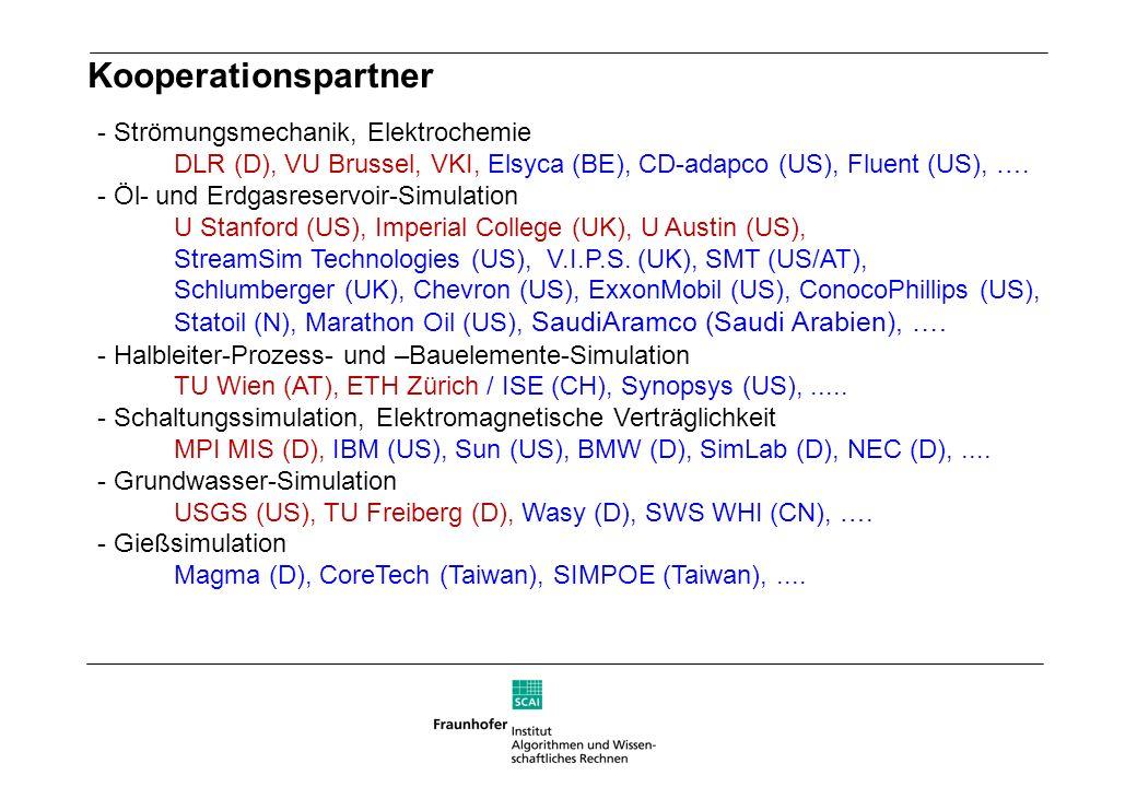 - Strömungsmechanik, Elektrochemie DLR (D), VU Brussel, VKI, Elsyca (BE), CD-adapco (US), Fluent (US), …. - Öl- und Erdgasreservoir-Simulation U Stanf