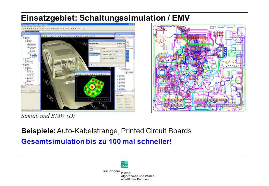 Einsatzgebiet: Schaltungssimulation / EMV Beispiele: Auto-Kabelstränge, Printed Circuit Boards Gesamtsimulation bis zu 100 mal schneller! Simlab und B