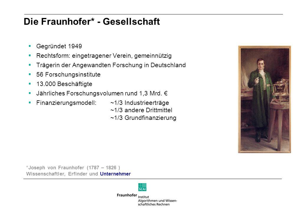Die Fraunhofer* - Gesellschaft Gegründet 1949 Rechtsform: eingetragener Verein, gemeinnützig Trägerin der Angewandten Forschung in Deutschland 56 Fors