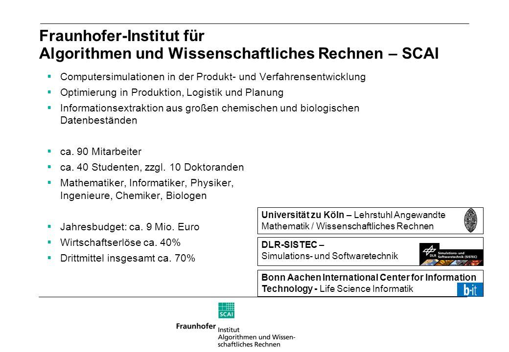 Fraunhofer-Institut für Algorithmen und Wissenschaftliches Rechnen – SCAI Computersimulationen in der Produkt- und Verfahrensentwicklung Optimierung i