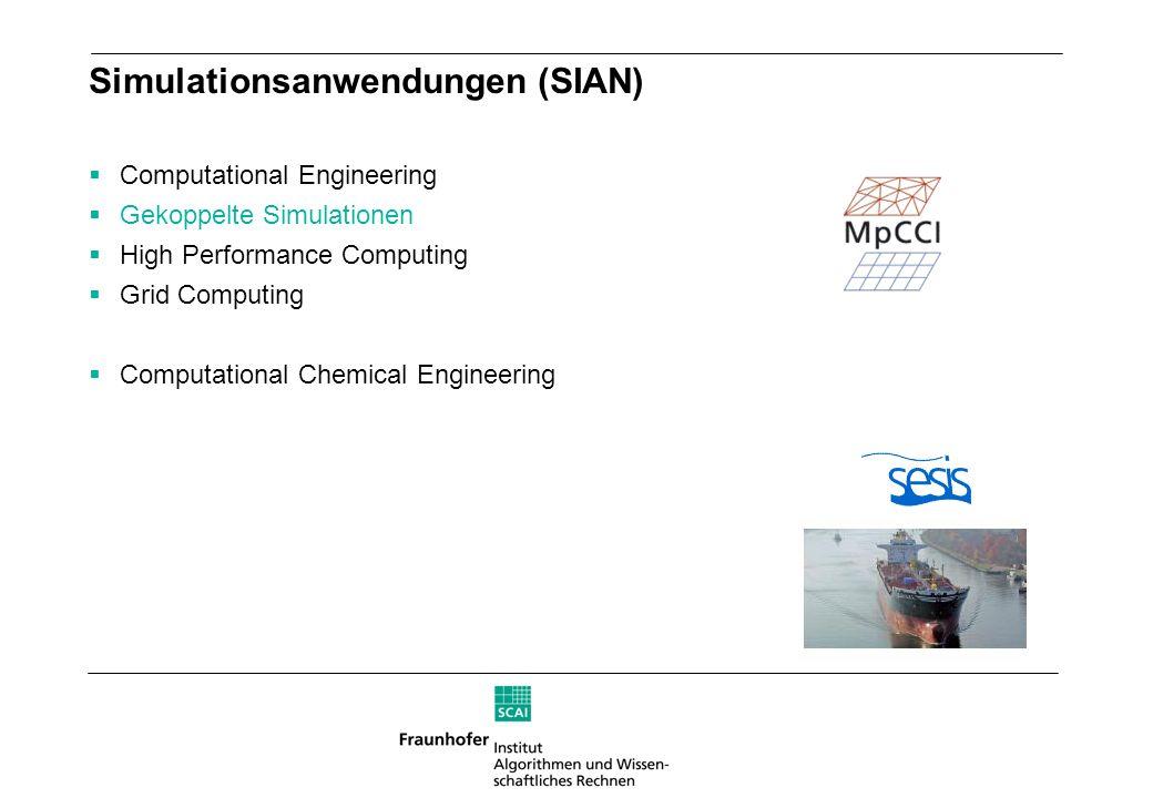 Simulationsanwendungen (SIAN) Computational Engineering Gekoppelte Simulationen High Performance Computing Grid Computing Computational Chemical Engin