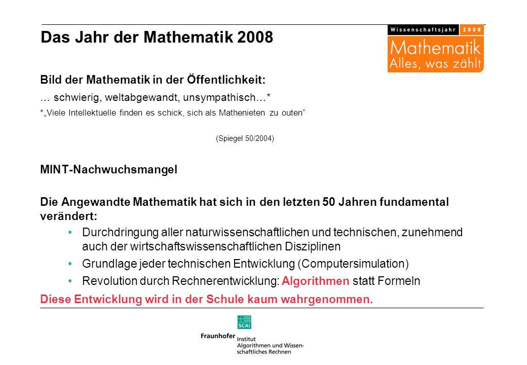 Das Jahr der Mathematik 2008 Bild der Mathematik in der Öffentlichkeit: … schwierig, weltabgewandt, unsympathisch…* *Viele Intellektuelle finden es sc