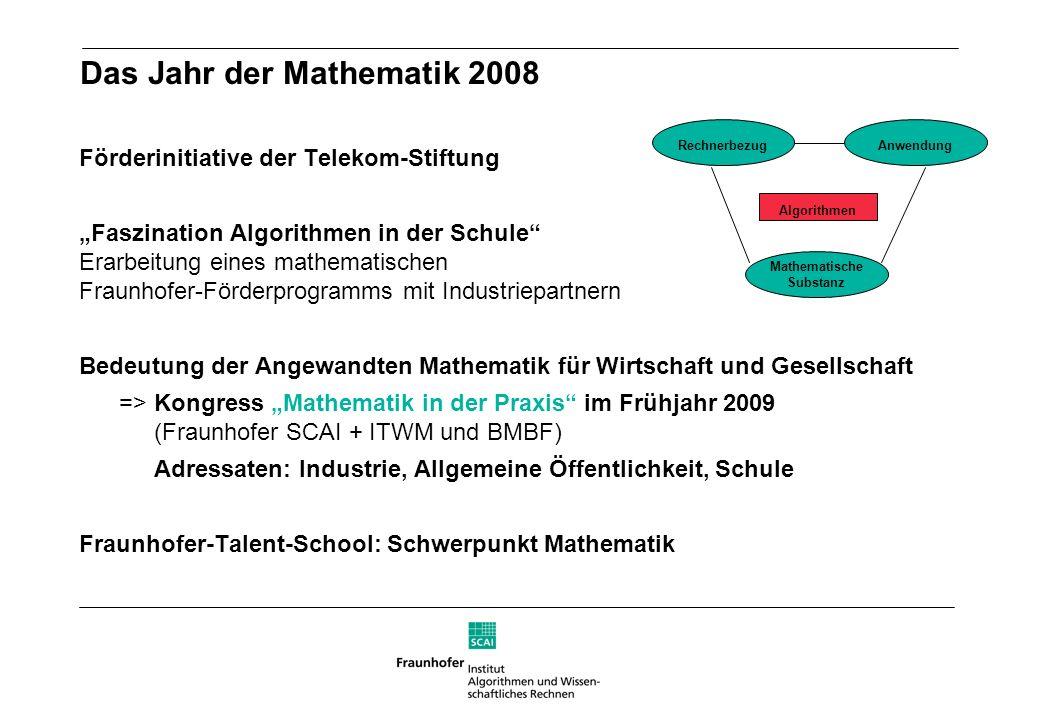 Das Jahr der Mathematik 2008 Förderinitiative der Telekom-Stiftung Faszination Algorithmen in der Schule Erarbeitung eines mathematischen Fraunhofer-F