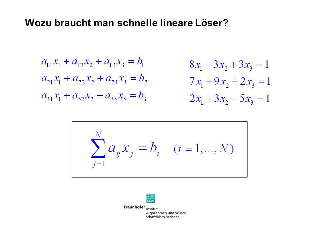Wozu braucht man schnelle lineare Löser.lineare Gleichungssysteme mit ca.
