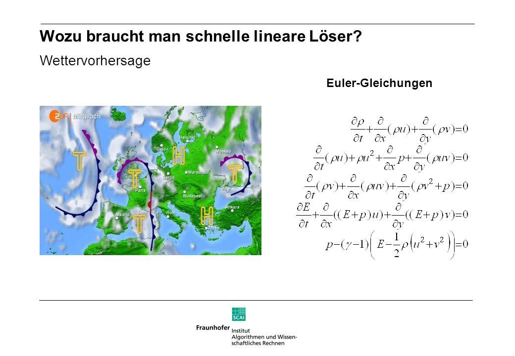 Wozu braucht man schnelle lineare Löser? Wettervorhersage Euler-Gleichungen