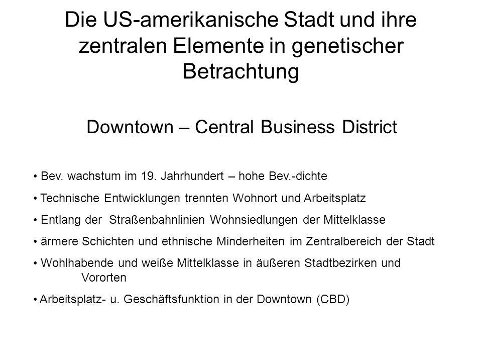 Die US-amerikanische Stadt und ihre zentralen Elemente in genetischer Betrachtung Downtown – Central Business District Bev. wachstum im 19. Jahrhunder