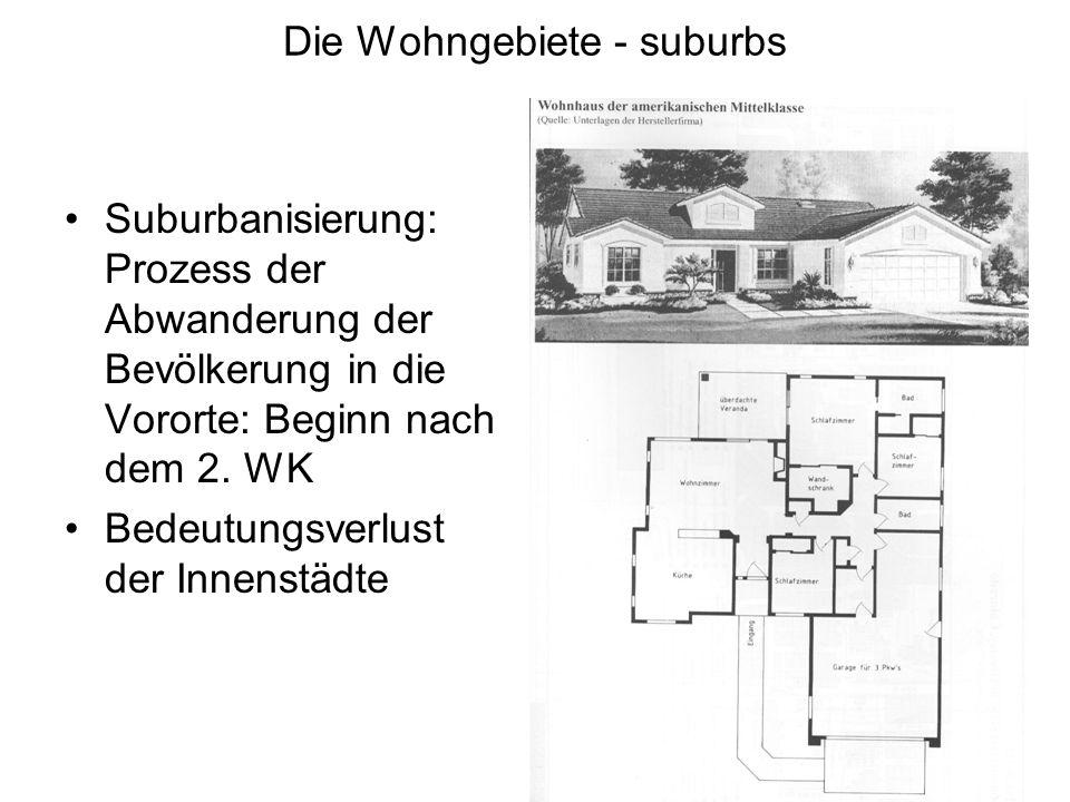 Die Wohngebiete - suburbs Suburbanisierung: Prozess der Abwanderung der Bevölkerung in die Vororte: Beginn nach dem 2. WK Bedeutungsverlust der Innens