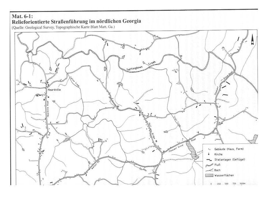 Grundlagen des Siedlungssystems Straßennetz quadratisch Abstände zwischen den Straßen identisch Quadratisches Landvermessungssystem charakteristisch für die USA Verbindlich für fast alle Bereiche westlich der 13 Gründungsstaaten Land Ordinance 1785 (Landvermessungssystem)