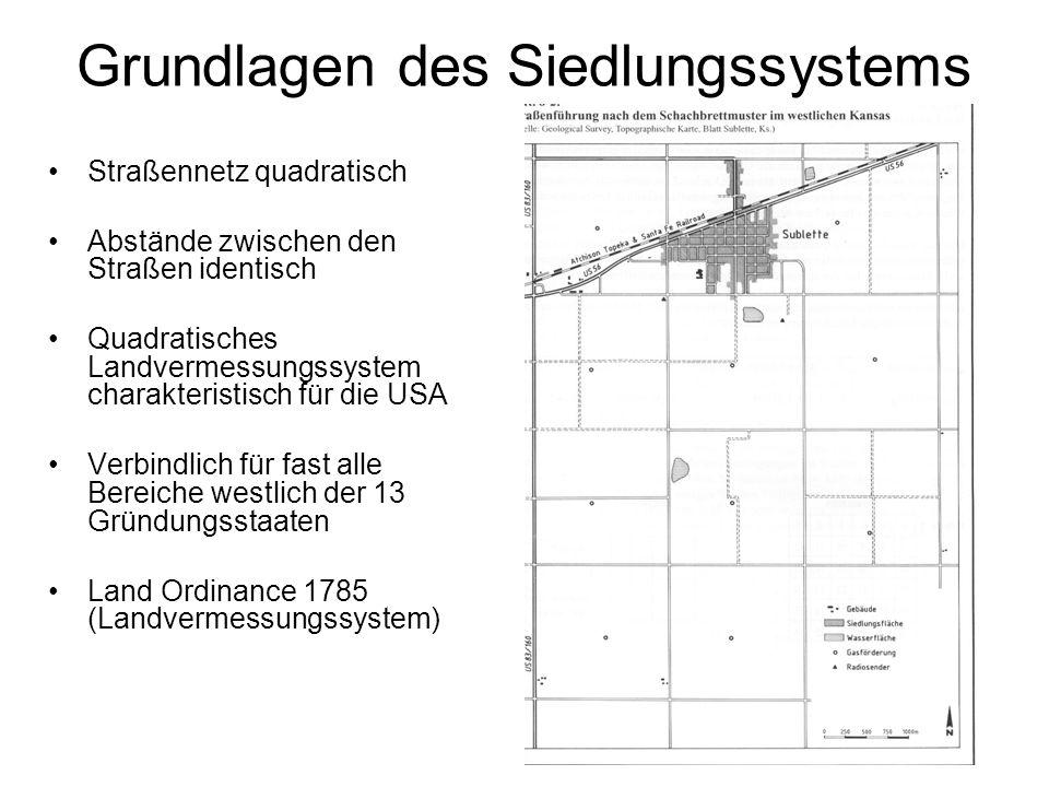 Grundlage des Siedlungssytems Township Sections Quarter sections In der Mitte einer township eine section freigehalten für Schulen, Verwaltungsgebäude, usw.