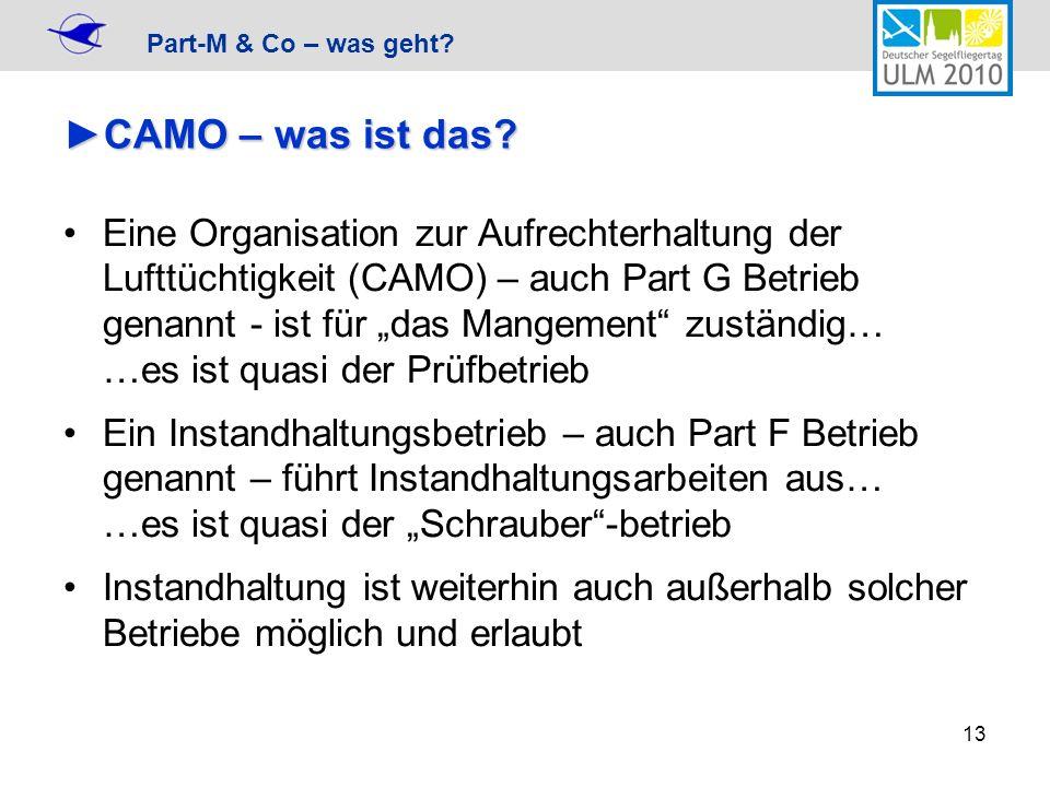 Part-M & Co – was geht? 13 CAMO – was ist das?CAMO – was ist das? Eine Organisation zur Aufrechterhaltung der Lufttüchtigkeit (CAMO) – auch Part G Bet