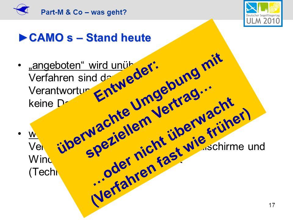 Part-M & Co – was geht? 17 CAMO s – Stand heuteCAMO s – Stand heute angeboten wird unüberwachte Umgebung Verfahren sind dann vergleichbar wie bisher,
