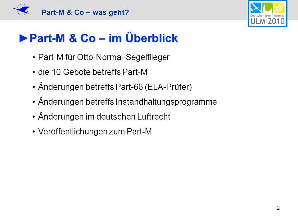 Part-M & Co – was geht? 2 Part-M & Co – im ÜberblickPart-M & Co – im Überblick Part-M für Otto-Normal-Segelflieger die 10 Gebote betreffs Part-M Änder